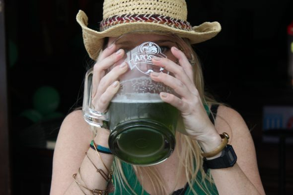 Green beer chug